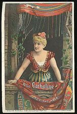 Adv. Trade Card - Lillian Russell in Pepita Promotes Carboline Hair Restorer