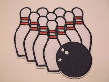 """10 Ten Pin Bowling Bowlers Embroidered Patch~4 1/8"""" x 4""""~Iron Sew~FREE US Mail"""