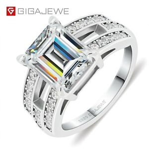 GIGAJEWE 4.0ct 8X10mm D Emerald 18K White Gold Plated 925 Silver Ring Claw