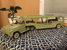 Vtg Buddy L Car Carrier Hauler Transport Truck Pressed Steel Toy 1960's