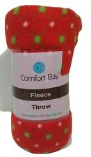 Comfort Bay Fleece Throw  50 X 60 Inches Red  dotted in Pink & Green New