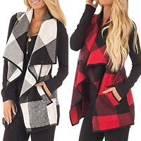 Women Plaid Sleeveless Lapel Open Front Cardigan Vest Sweater Jacket Casual Coat