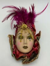 Unique Creations Small Art Deco Lady Face Mask Wall Hanging Pink Feathers It/468
