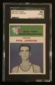 1961 Fleer Phil Jordan SGC 6 EXMT #24 New York Knicks 80 NBA Basketball Card