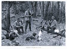 HUNTING GROUSE DOGS SPANIEL HUNTERS THANKSGIVING IN THE WOODS BY A. B. FROST