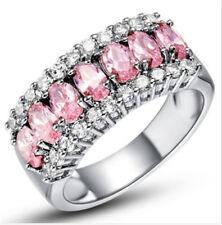 Fashion Women Pink Gemstone CZ Crystal Silver Wedding Ring Jewelry Size 7 HOT