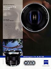 1 Zeiss Prospekt Datenblatt Kamera Objektiv Distagon T 3,5/18 2010 brochure lens