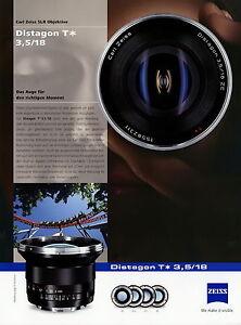 Zeiss Prospekt Datenblatt Kamera Objektiv Distagon T 3,5/18 2010 brochure lens