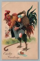 Rooster w Walking Cane RARE Embossed Antique FANTASY Dressed-Animal Easter 1908