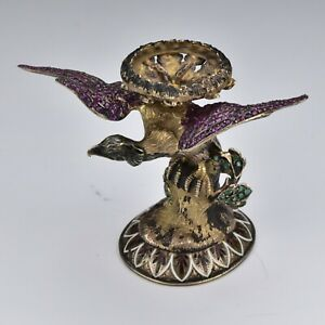 Viennese Enamel Sterling Silver Bird Figurine Sculpture Genuine Rubies Emeralds