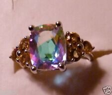 HUGE 4.88 CTW COLORFUL  MERCURY MIST TOPAZ & CITRINE STERLING SILVER RING SIZE 6