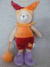 Baby Nat***Doudou/peluche ours/Lutin/bear Grelot Rouge/orange/violet Ballon
