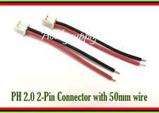 2 x JST-PH 2-Pin 2.0mm Female Housing Connector plug with 26AWG 50mm long wire
