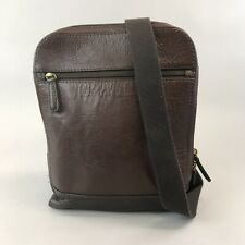 """FOSSIL Unisex Brown Leather Cross Body Messenger Travel Work Hand Bag 11 X 9.5"""""""