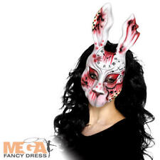 Evil White Bunny Mask Halloween Scary Zombie Rabbit Horror Fancy Dress Costume
