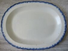 """Antique Pearlware Blue Feather Edge Shell Edge 16"""" Large Platter"""
