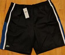 Mens Authentic Lacoste Sport Taffeta Striped Shorts Black/Blue/White 8 (3XL) $75