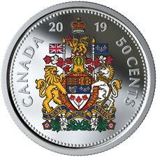 CANADA 2019 50 CENTS 99.99% PROOF SILVER COLOURED HALF-DOLLAR HEAVY CAMEO COIN