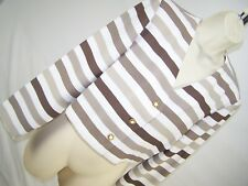Leslie Fay Brown White Striped Button Blazer Womens Size 10 Medium Petite 10P