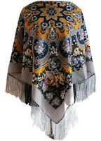 Lovely Authentic Russian Pavlovo Posad Scarf Shawl 100% Wool silk fringe 89x89cm