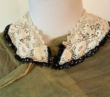New listing Exquisite Irish lace vintage collar with black crochet edging
