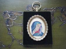 Ornate Frame Velvet Filigree Convex Glass Fabric Needlepoint Portrait of Mary