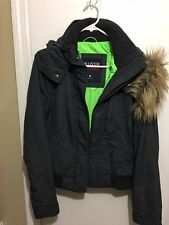Hollister Jacket women's size Medium Grey with Neon Green lining