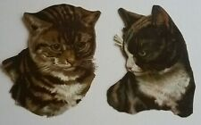 2.Antique, Embossed, Chromo Victorian PRETTY CAT SCRAPS. 9x7.5cms.