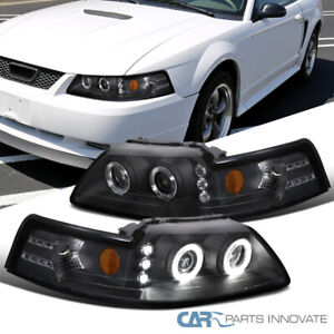 For 99-04 Ford Mustang Black LED Halo Projector Headlights Head Lamps Left+Right