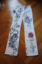 Roberto Cavalli Jeans weiß Tattoo S aussergewöhnlich Luxus Baumwolle geradesBein
