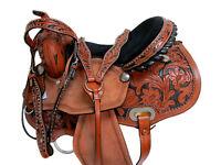 DEEP SEAT BARREL SADDLE WESTERN RACING HORSE FLORAL TOOLED LEATHER 15 16 TACK