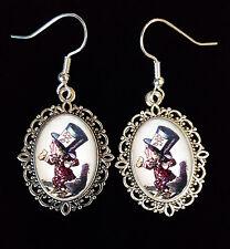 Alice Wonderland MAD HATTER Tenniel Antique Silver Drop Earrings Steampunk Goth