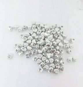 100 Silver Hearts 4mm Spacer Beads For Jewellery Making