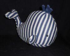 Little Jellycat Blue White Stripe Walter Whale Rattle Stuffed Animal Plush Toy