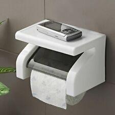 Toilet Paper Roll Holder Wall Mounted Bathroom Tissue Rack Storage Phone Shelf