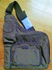 Baggallini Brown CrossBody Purse Bag Shoulder Messenger Blue Lining