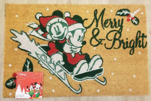 NEW Disney Vintage Mickey Minnie Mouse Holiday Door Mat Merry & Bright Christmas