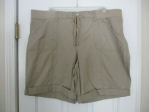 Sonoma Size 22W Beige Mid Rise Cotton Shorts New with Tags