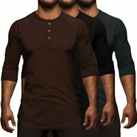Men's Henley Collar Stylish Streetwear Tee Shirt Basic Swag 3/4 Sleeve Tshirt