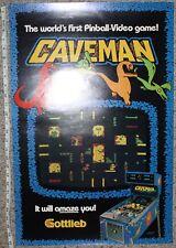 Caveman Poster Authentic Vintage Near Mint Promo Pinball Gottlieb