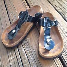 Birkenstock Betula Black Patent Glossy Sandals Womens 8 EUR 39 Slip On Shoes