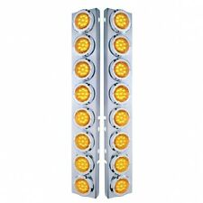 Peterbilt Front Air Cleaner Kit 16 Flat Amber LED Lights & Bezels - Amber Lens