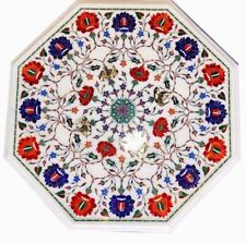 "21"" marble corner Coffee Table Top semi precious stones Inlay Decor"