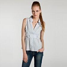 Elite Model's Fashion Sleeveless Shirt Top Camicia Donna righe smanicata S/m