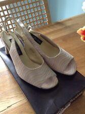 Lotus Beige Sling Back Peep Toe Shoes Size 4.5