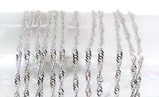 "Solid 14k White Gold Twisted Cable Chain Necklace ~ 22.5"" ~ Nice!"