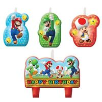 SUPER MARIO BROS BIRTHDAY PARTY CANDLE SET OF 4 BIRTHDAY PARTY SUPPLIES