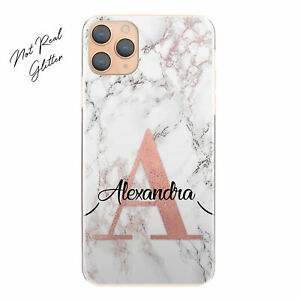 Personalised Initial Phone Case, Black/Pink Marble Hard Cover For Huawei/Honor