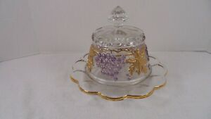 Mosser Glass Hand Painted Grape Cable Butter Covered Dish 151BCD HTF