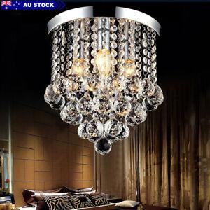 Modern Crystal LED Ceiling Light Flush Mount Crystal Chandelier Decor